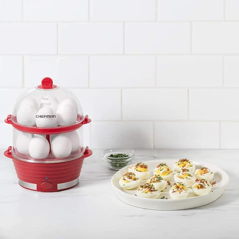 ChefmanElectric Double Decker Egg Cooker, Quickly Makes 12 Eggs, BPA-Free, Red