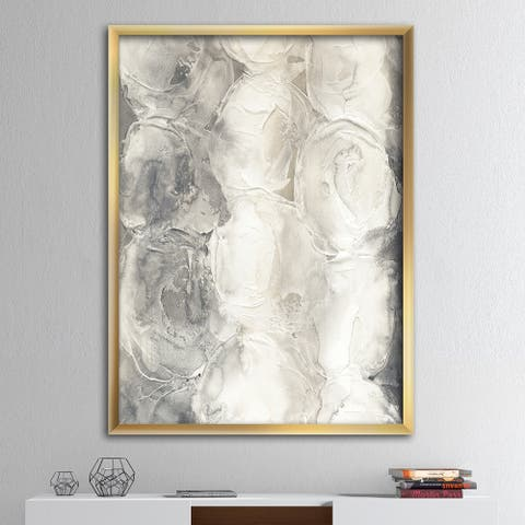 Designart 'Gray Circles I' Modern & Contemporary Premium Framed Art Print