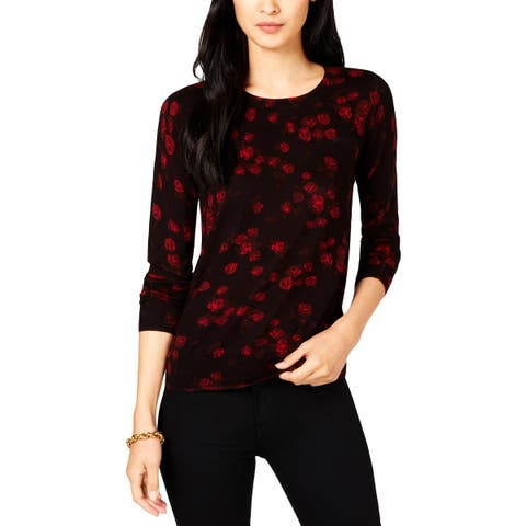 MICHAEL Michael Kors Womens Petites Blouse Floral Long Sleeves