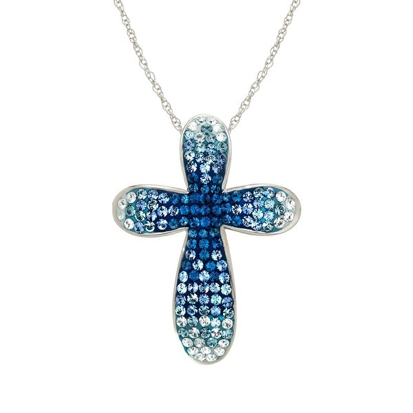 Crystaluxe Cross Pendant with Marine & White Swarovski Elements Crystals in Sterling Silver - Blue