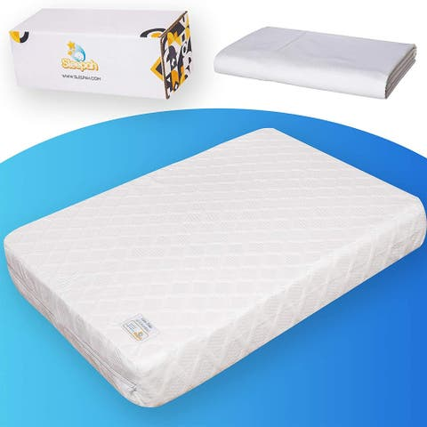 Sleepah Pack and Play Mattress Pad Portable Memory Foam; (Firm for Babies, Soft for Toddlers) Waterproof + Sheet 38 x 26 x 3