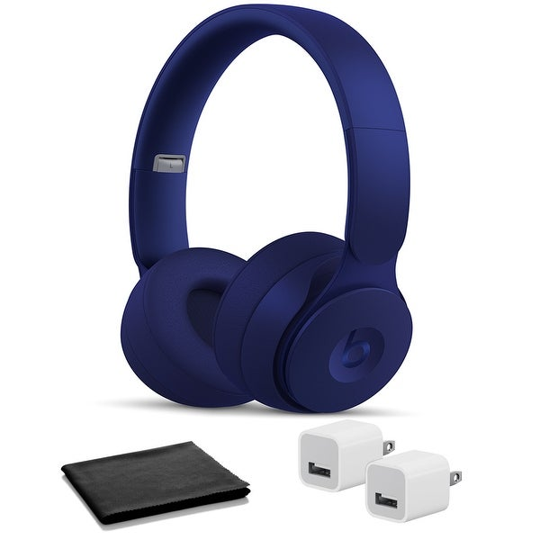 Beats Solo Pro Wireless Headphones - Dark Blue with USB Adapter Cubes. Opens flyout.