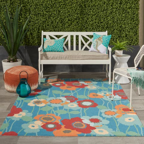 Waverly Sun N' Shade Floral Transitional Indoor/Outdoor Area Rug