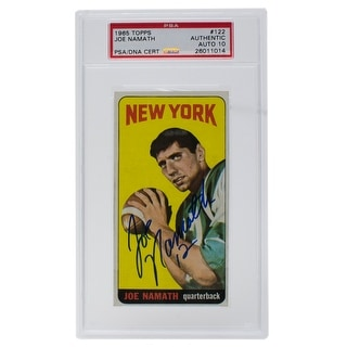 Joe Namath Signed 1965 122 Topps Giants Rookie Card Slabbed PSA Auto 10