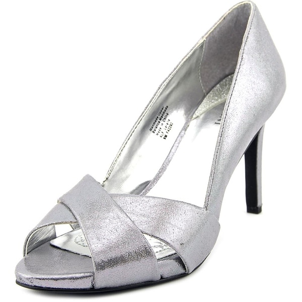 Alfani Loralie Women Open Toe Canvas Silver Sandals