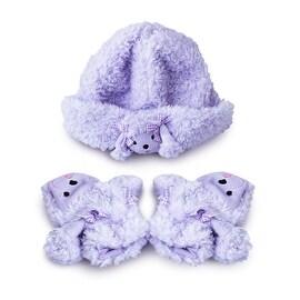 Fuzzy Wear Girls Purple Poodle Hat & Mitten Set, 12-18 Months