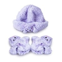 Fuzzy Wear Girls Purple Poodle Hat & Mitten Set, 12-18 Months