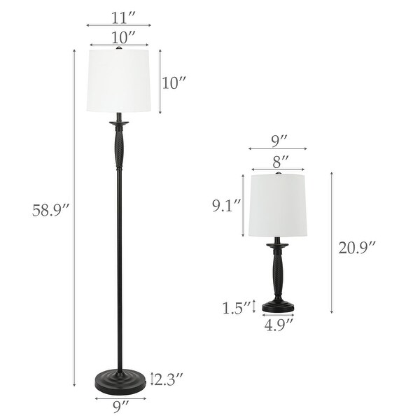 CO-Z Classic Floor Lamp and Table Lamps in Matt Black Finish, Set of 3