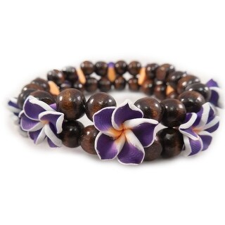 Charming Shark Womens Flower Bead with Purple Stretch Bracelet Elastic Orange