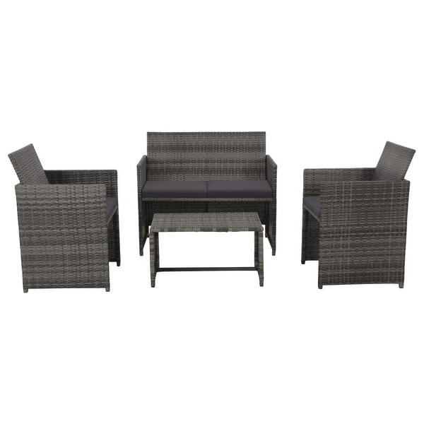 "vidaXL 4 Piece Garden Lounge with Cushions Set Poly Rattan Gray - 39.4"" x 22"" x 33.5"""