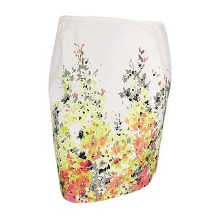 Tahari Women's Petite Floral Print Cotton Blend Skirt