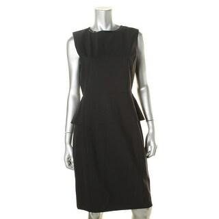Elie Tahari Womens Wool Leather Trim Wear to Work Dress - 12