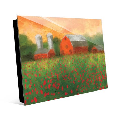 Kathy Ireland Hampton Ranch with Red Flower Field Abstract on Acrylic Wall Art Print