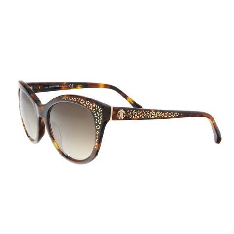 Roberto Cavalli RC992S 52G TSEANG Dark Havana Cat Eye Sunglasses - 55-18-140