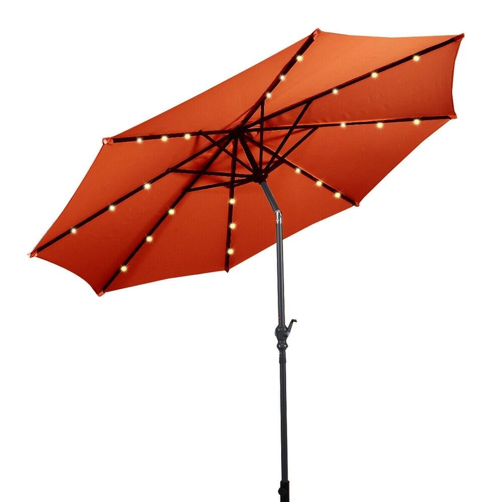 10 ft Patio Solar Umbrella with Crank and LED Lights Orange (Orange)