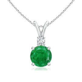 V-Bail Round Emerald Solitaire Pendant with Diamond in 14K White Gold(5mm Emerald)