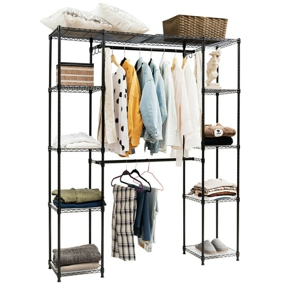 Gymax Expandable Closet Organizer Free Standing Clothes Hanger Rack Shelves
