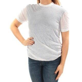 DKNY $248 Womens New 1057 White Short Sleeve Crew Neck Casual Top S B+B