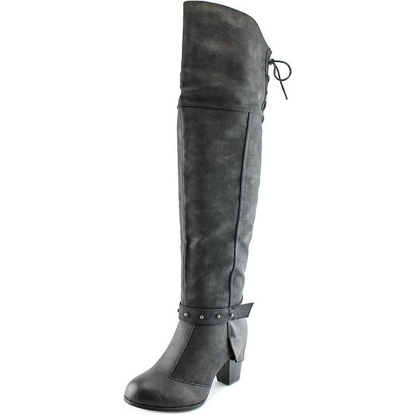 2 Lips Too Too Local Women Round Toe Synthetic Black Over the Knee Boot