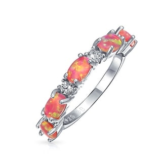 Thin CZ Stackable Half Eternity Oval Created Pink Opal Band Ring For Women 925 Sterling Silver 1MM October Birthstone