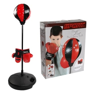 Costway Kids Punching Bag Toy Set Adjustable Stand Boxing Glove Speed Ball