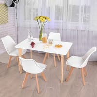 Costway 5 Piece Mid-Century Dining Set Rectangular Table and 4 Chairs Modern White
