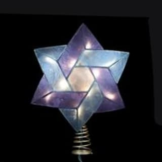 "8.5"" Star of David Capiz Tree Topper- Blue and Purple"
