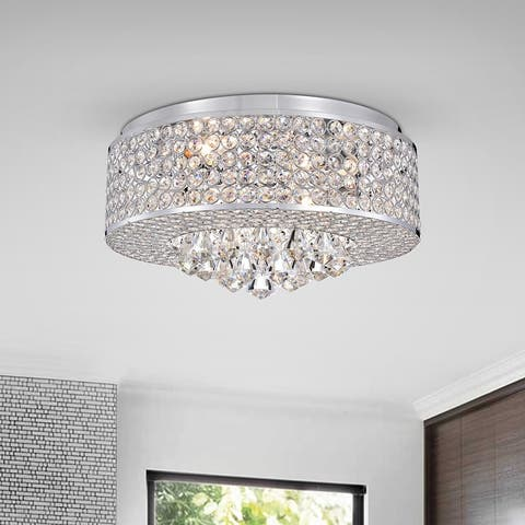 Chrome 4-Light Drum Shade Flush Mount with Crystal Beaded