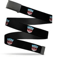 Blank Black  Buckle Autobot Logo Repeat Black Blue Red Fade Webbing Web Belt