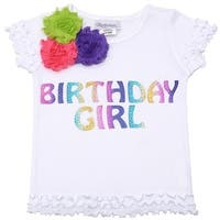 Reflectionz Baby Girls White Birthday Floral Ruffled Hem Top 12M - 18 months