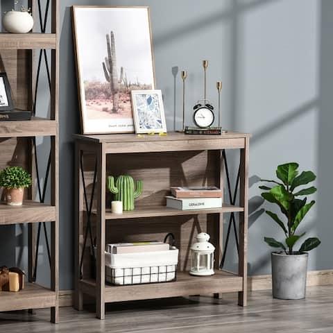 HOMCOM Industrial Style 2-Tier Bookcase Bookshelf, Open Shelving Display Storage Unite with Metal X-Bar