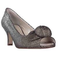 Caparros Willamena Rose Bud Peep Toe Dress Pumps, Champagne Dazzle