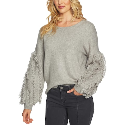 1.State Womens Pullover Sweater Fringe Long Sleeves