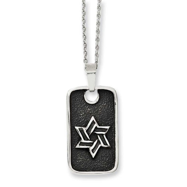 Chisel Stainless Steel Antiqued Star of David Dogtag Necklace (2 mm) - 24 in