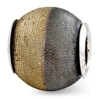 Italian Sterling Silver Reflections Gold-plated Laser Etched and Black Matte Bead (4mm Diameter Hole)