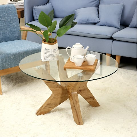 Ivinta Mid-Century Modern Round Glass Coffee Table for Living Room 31.5 in