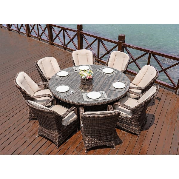 Shop Moda Outdoor 9 Piece Wicker Dining Set Round Table 8 Chairs Overstock 31999738