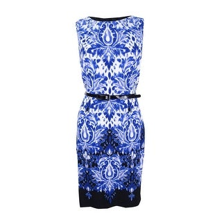 Connected Women's Petite Belted Printed Sheath Dress - Royal