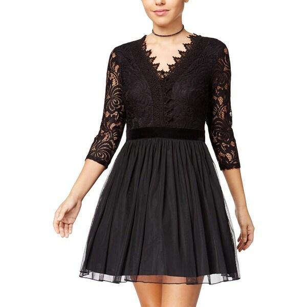 b3548ec47a Shop City Studio Womens Juniors Party Dress Lace Fit   Flare - Free ...