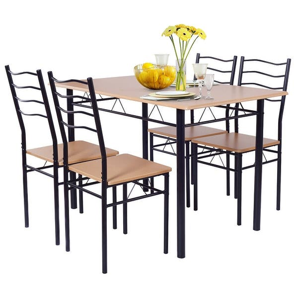 Costway 5 Piece Dining Table Set With 4 Chairs Wood Metal Kitchen Overstock 17283939