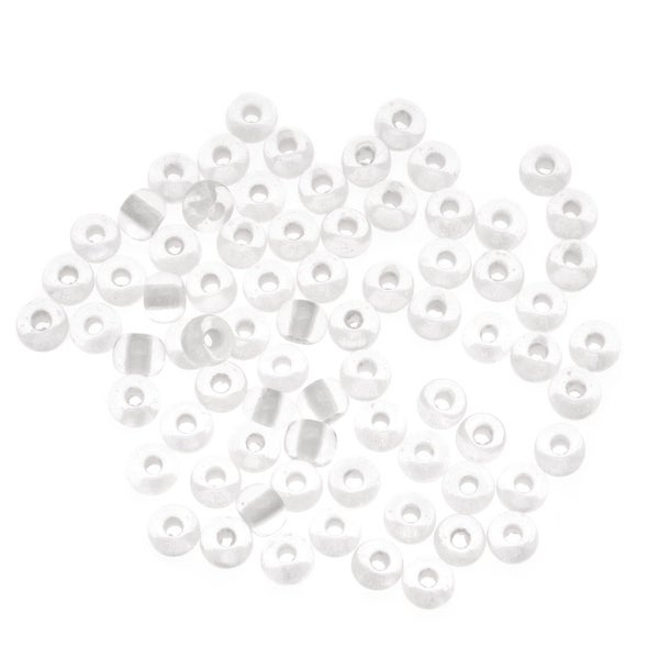Czech Seed Beads 6/0 Crystal Glow In The Dark Lined 1 Ounce