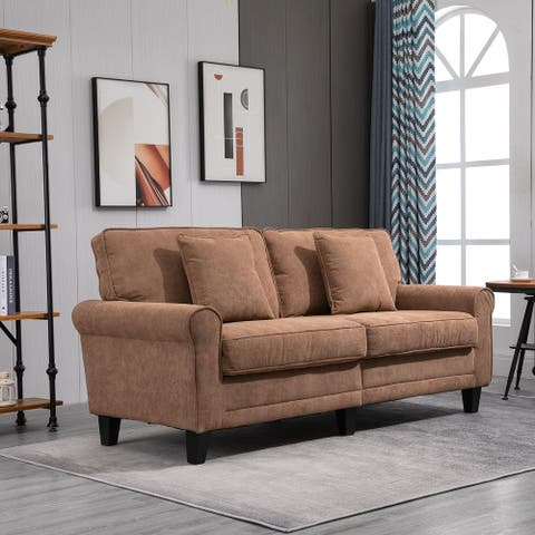 HOMCOM Modern Classic 3-Seater Sofa Corduroy Fabric Couch with Pine Wood Legs, Rolled Arms for Living Room, Light Brown