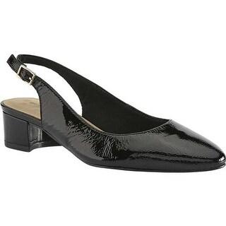 Walking Cradles Women's Hazel Slingback Black Tumbled Patent Leather