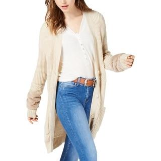 Jessica Simpson Womens Juniors Jennifer Cardigan Sweater Mixed Knit Faux Fur