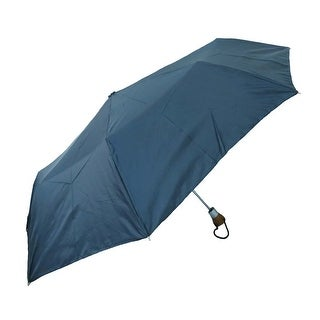 Raines by Totes Automatic Open Navy Blue Large Coverage Umbrella w/ Wood Handle