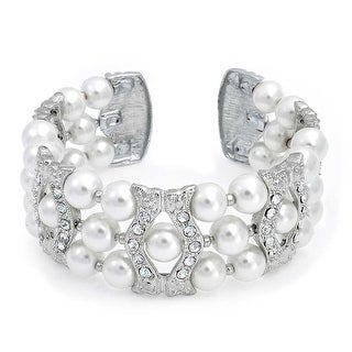 Bling Jewelry Imitation Pearl Crystal Bridal Cuff Bracelet Rhodium Plated - White