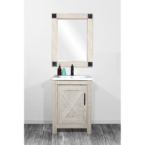 Rustic Solid Fir Single Bathroom Vanity with Ceramic Sink in Sawed Pattern Design and Hand Paint White Color-Special Edition