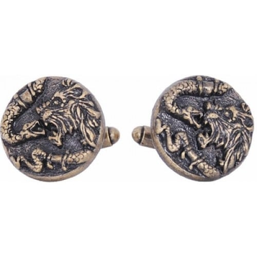 Lion and Snake Strength Courage Fertility Rebirth Religion Army Cufflinks