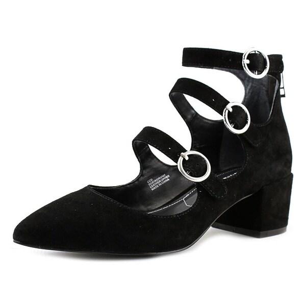 Charles By Charles David Wonder Triple Strap Women Suede Black Heels