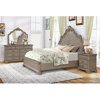 Levan Carved Wood Bed Set with Panel Bed, Dresser, Mirror, Nightstand